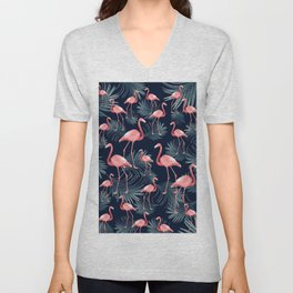 Summer Flamingo Palm Night Vibes #1 #tropical #decor #art #society6 Unisex V-Neck