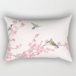 Birds and cherry blossoms Rectangular Pillow