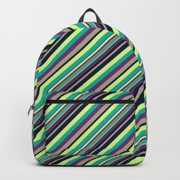 Summer Flowers Inclined Stripes Backpack