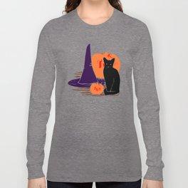 Witch Cat Pumpkin Woodcut Halloween Design Long Sleeve T-shirt