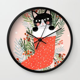 Cat on a sock. Holiday. Christmas Wall Clock