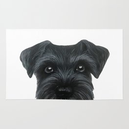 Black Schnauzer, Dog illustration original painting print Rug