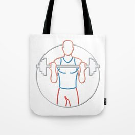 Athlete Lifting Barbell Neon Sign Tote Bag