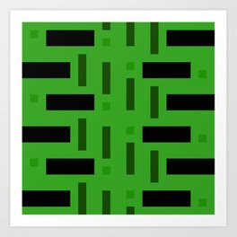 Pattern of Squares in deep Green Art Print