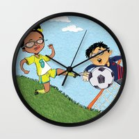 soccer Wall Clocks featuring Soccer by sheena hisiro