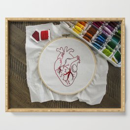 Heart design of handmade embroidery Serving Tray