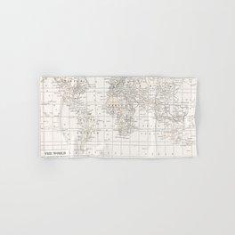Cream Map Hand & Bath Towel