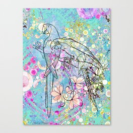 Two Parrots with Frangipani Canvas Print