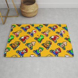 Super Mar!o Kart heroes | vintage videogame pattern | orange Rug