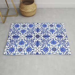 Art Nouveau Chinese Tile, Cobalt Blue & White Rug