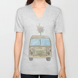 Vintage watercolor car with flowers Unisex V-Neck