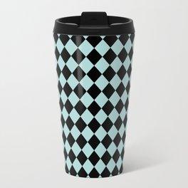 Harlequin - black and aqua Travel Mug
