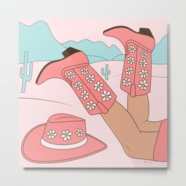 Chillin, Girl in Cowboy Boots with Hat in the Desert Enjoying Life Pastel Blush Pink and Mint Color Metal Print