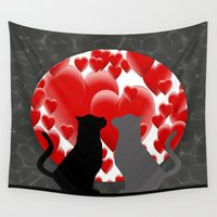 valentine Wall Tapestries featuring Valentine Kitties  by Frankie Cat