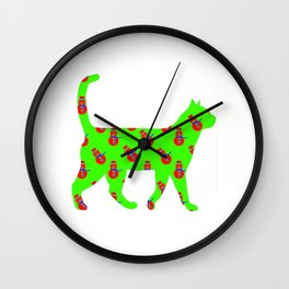 Snowman Cat Red Wall Clock