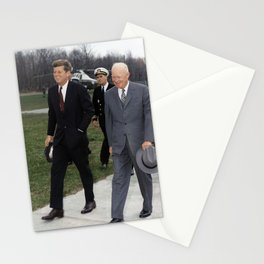President Kennedy and Dwight Eisenhower - Camp David - 1961 Stationery Cards