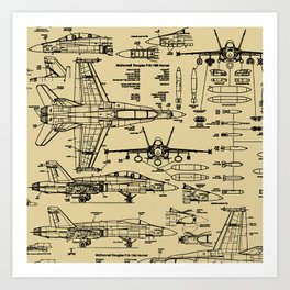 F-18 Blueprints // Tan Art Print