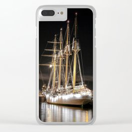 Sailing ship at  the pier Clear iPhone Case