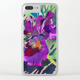 Watercolor Iris Flower with Shadows - Bright Purple & Pink Clear iPhone Case