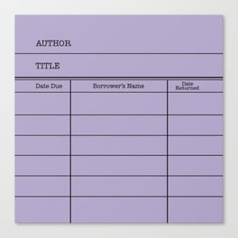 LiBRARY BOOK CARD (violet) Canvas Print