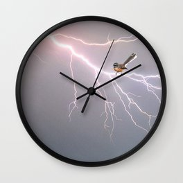 Bird on lightning bolt - Fantail Wall Clock