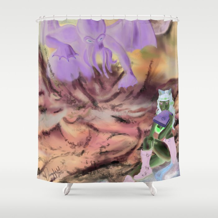 Cthulhu Pinup Shower Curtain