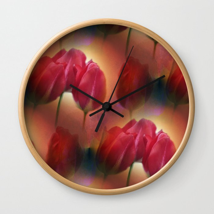 watercolored tulip pattern Wall Clock
