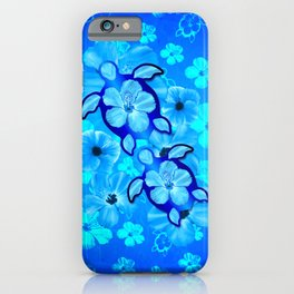 Blue Tropical Flowers And Honu Turtles iPhone Case