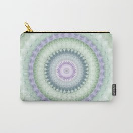 Heirloom Mandala in Pastel Green and Purple Carry-All Pouch
