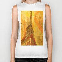 eiffel Biker Tanks featuring Eiffel by 3crows