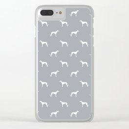 Greyhound Grey and white minimal dog silhouette dog breed pattern Clear iPhone Case