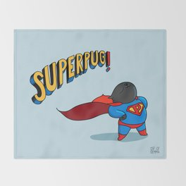 superpug! Throw Blanket
