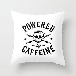 Powered By Caffeine Throw Pillow