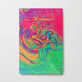 Abstract Multicolored Waves Metal Print