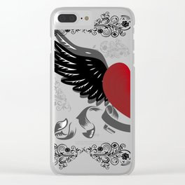 Heart with wings and background Clear iPhone Case