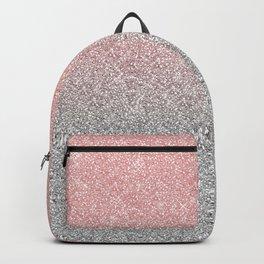 Girly Rose Gold & Silver Ombre Glitter Design Backpack