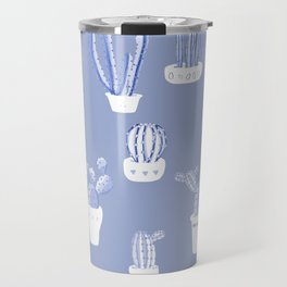 Elegant Blue Cacti in Pots Pattern Travel Mug