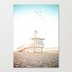 Pelicans Over the 10th Street Lifeguard Tower Canvas Print