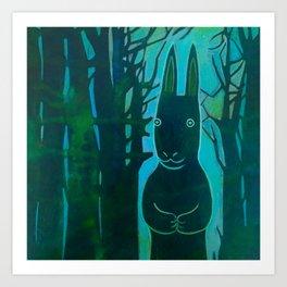 Rabbit in the Woods Art Print