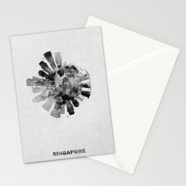Singapore Black and White Skyround / Skyline Watercolor Painting Stationery Cards