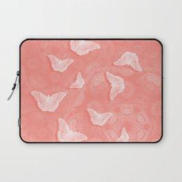 A flutter of butterflies on peach mandala patterns Laptop Sleeve