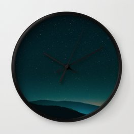 Mid Century Modern Round Circle Photo Graphic Design Minimal Night Sky With Mountain Silhouette Wall Clock