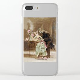 """""""Chats amoureux 1900, interrogeons les fleurs"""" / """"Cats in love 1900, question the flowers"""" Clear iPhone Case"""