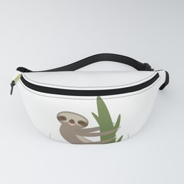 Three-toed sloth on green branch on white background Fanny Pack