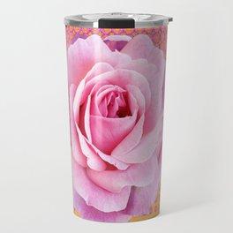 PINK GARDEN ROSES OPTICAL PATTERN ART Travel Mug