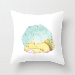 Sleeping fox starry night sky Throw Pillow