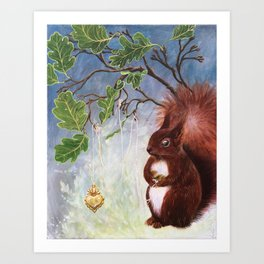 A fuzzy feeling - squirrel Kunstdrucke