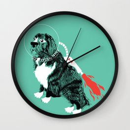 A Flying Dog In Outer Space Wall Clock