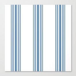 Farmhouse Blue Ticking Stripes on White Canvas Print