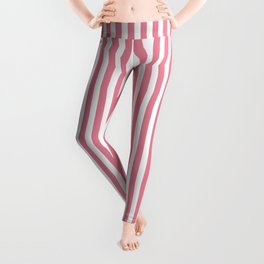 Vertical Stripes Pink & White Leggings